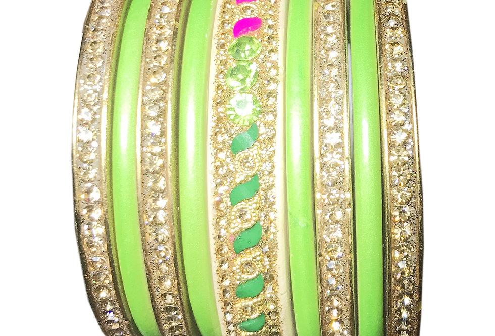 Green Chudi With Gold Platted LAKH Chuda