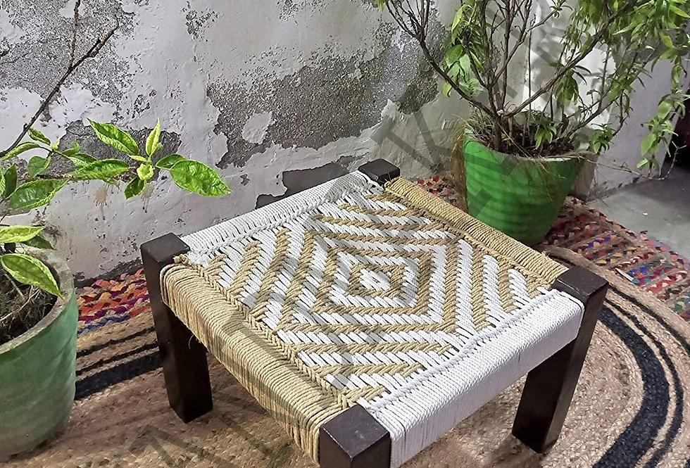 Flower Design Wooden Chowki White and Beige