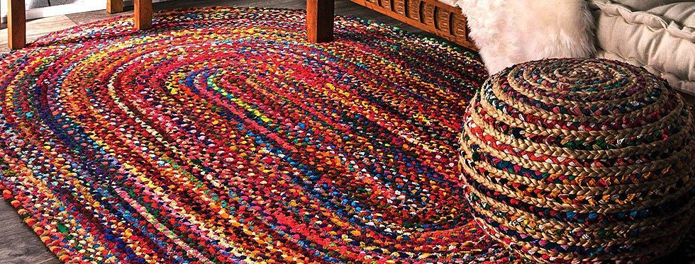 Natural Jute and Cotton Oval Shape Runner With Multicolor