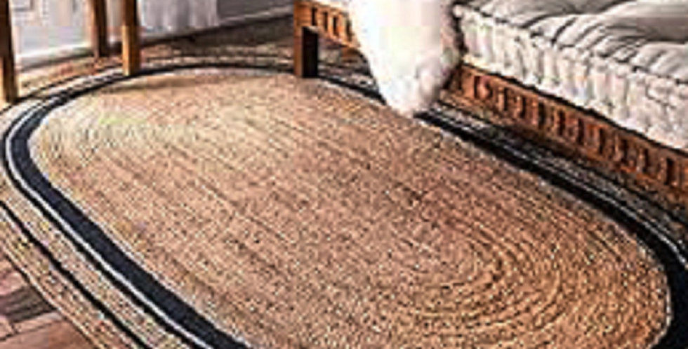 Natural Jute Oval Shape Runner With Beige and Black Border