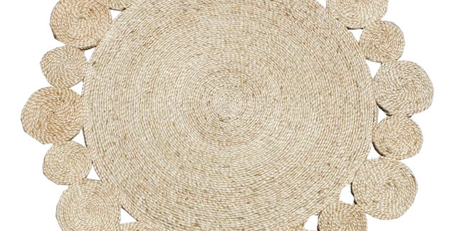Braided Jute Round Rug With Multi Outer Circle