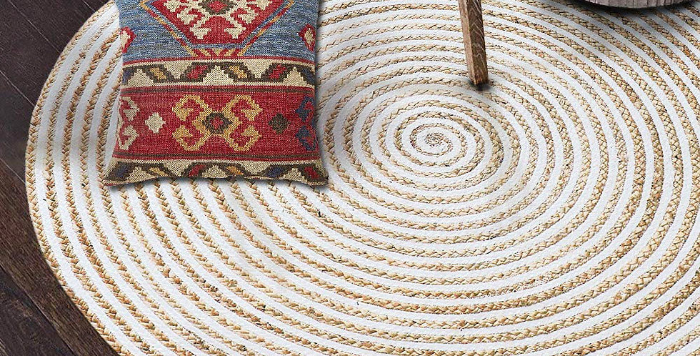 Natural Jute Indoor Rug With White and Beige