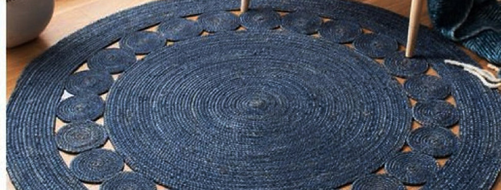Jute Braided Indoor Rug With Blue Color