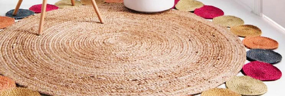 Natural Jute  Rug With Multicolor Outer Circle- 90 CM