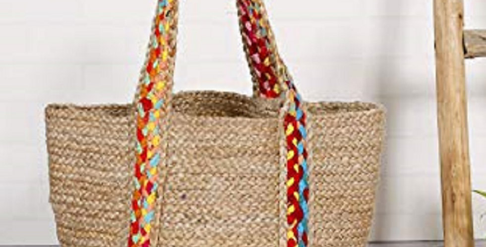 Jute Handbag With Multicolor Handle