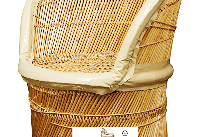 Handmade Bamboo Mudda Chair With White Rexine Covering