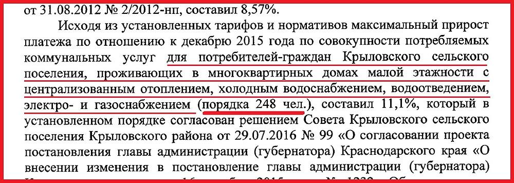 на изображении часть ответа заместителя главы администрации (губернатора) Краснодарского края Алексеенко А.А. от 24.08.2017 года №ОП-30574.4-17-30