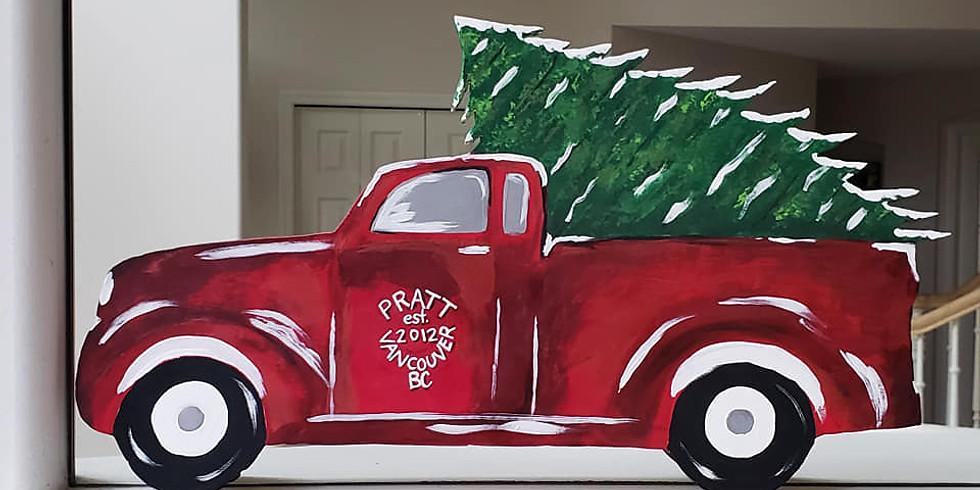 Red Truck w/Tree Door Hanger