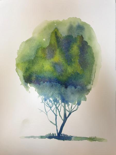 Spring Watercolor Tree