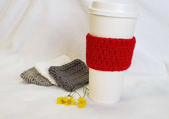 Red Crochet Reusable Coffee Sleeve