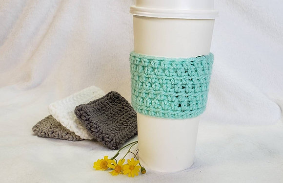 Aqua Crochet Reusable Coffee Sleeve