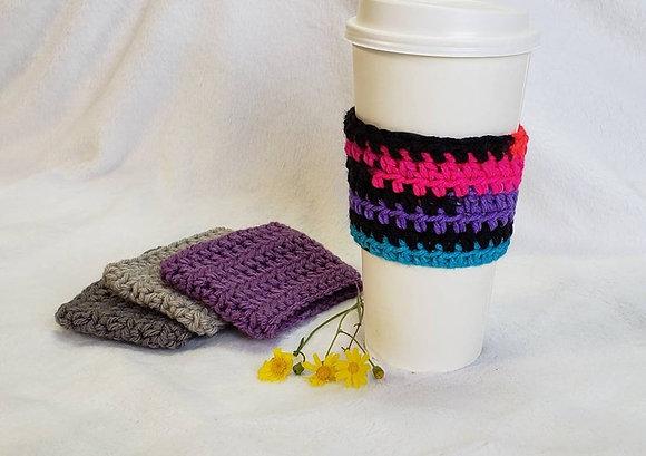 Neon Stripes Crochet Reusable Coffee Sleeve