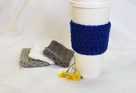 Navy Blue Crochet Reusable Coffee Sleeve