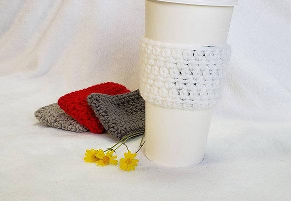 White Crochet Reusable Coffee Sleeve