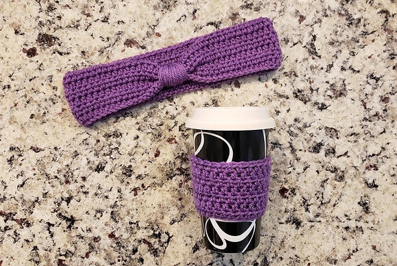 Light Purple Crochet Knotted Headband & Coffee Sleeve