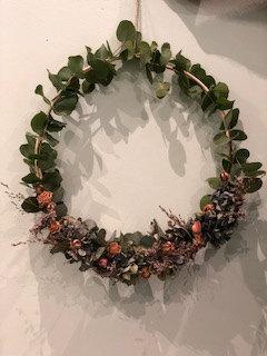 Couronne décorative fleurs sechées