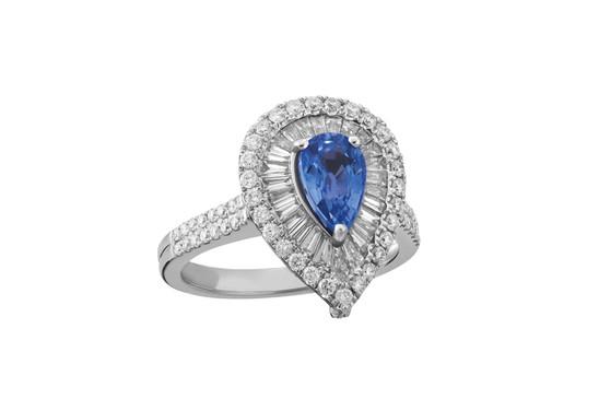 Anel diamentes pedra azul gota