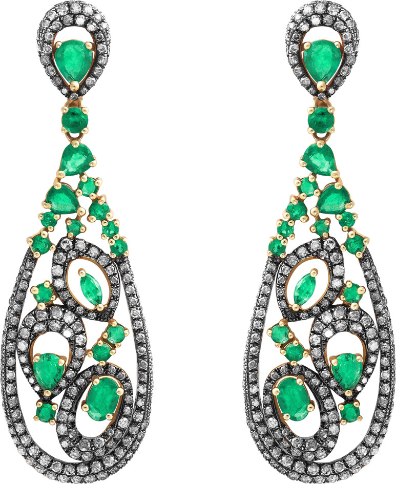 Brindos pendentes brilhantes e esmeraldas