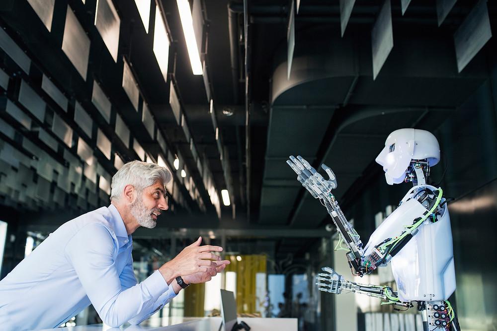 Man debating with robot