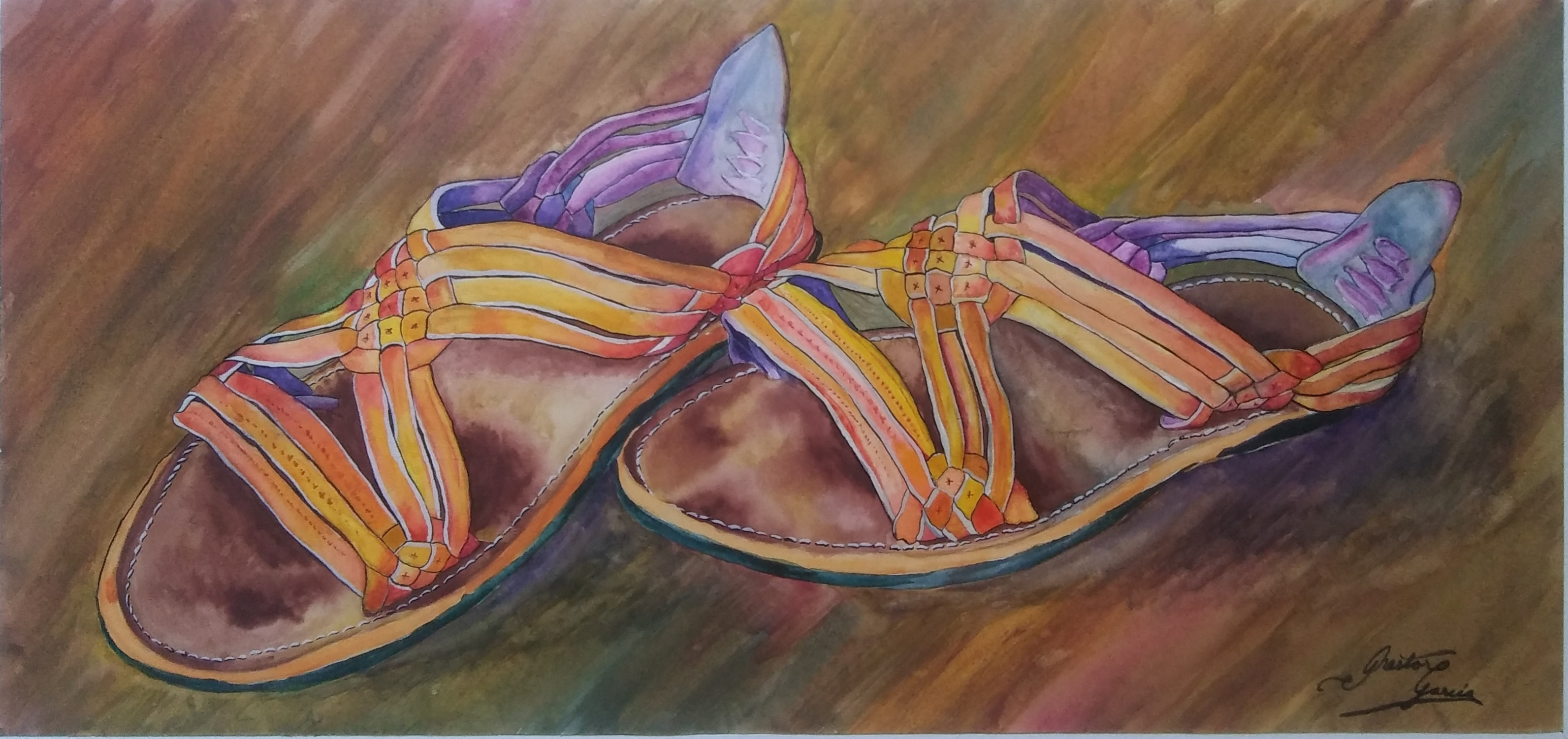 "Nestor Garcia / ""Huaraches"" / Watercolor / 22x2.5 / $350"