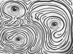 "Olga Vidaurri / ""Thrice Eyes"" / Black Ink, Graphite / 18x24 / $30"