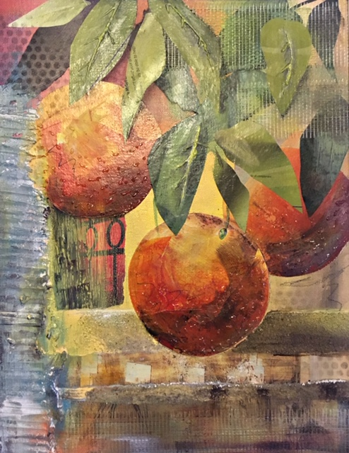 "Kathleen Boakes (Gandy) / ""Low hanging fruit"" / Mixed Media-Collage / 13x10 / NFS"