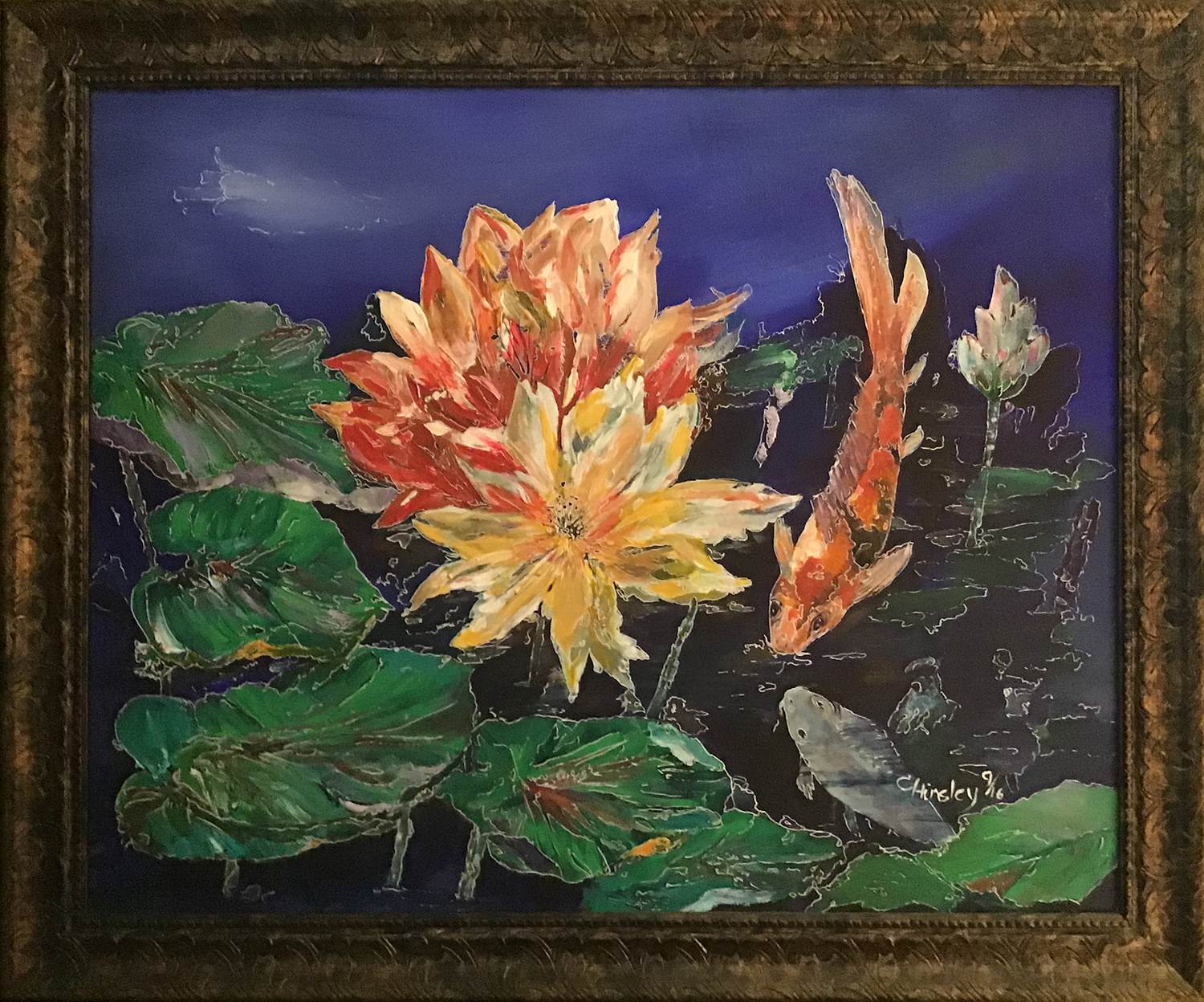 "Cris Hinsley / ""Playful Kois on the Pond"" / Acrylic / 30x22 / $600"
