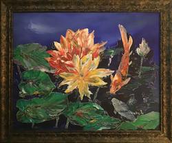 """Cris Hinsley / """"Playful Kois on the Pond"""" / Acrylic / 30x22 / $600"""