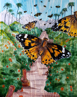"Aubrey Sanchez / ""Migration Through the Groves"" / Engraved Mixed Media / 12x15 / NFS"