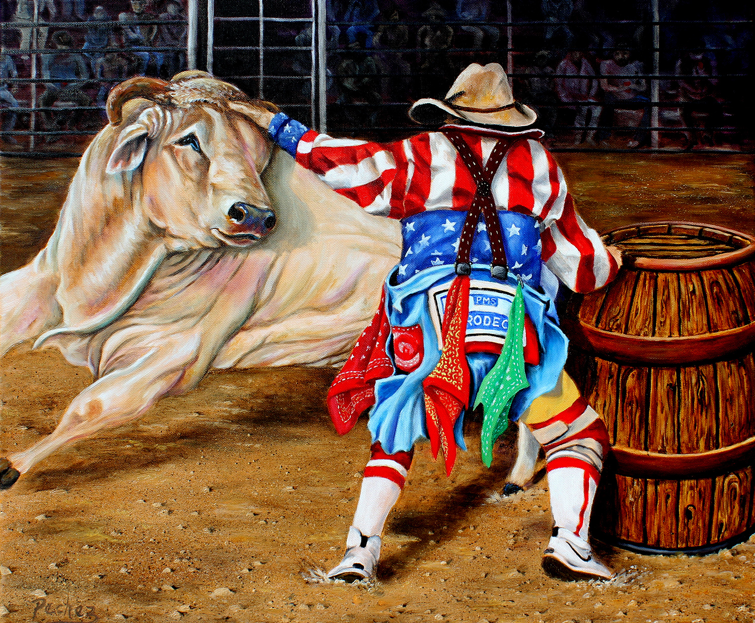 "Pechez Sepehri / ""Rodeo Clown"" / Oil / 20x24 / $800"