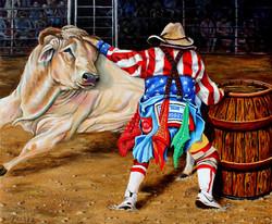 "Pechez Sepehri / ""Rodeo Clown"" / Oil / 20x24 / $800"