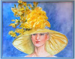 """Zita Villanueva / """"Yellow Bonnet"""" / Mixed Media / 18x24 / $975"""