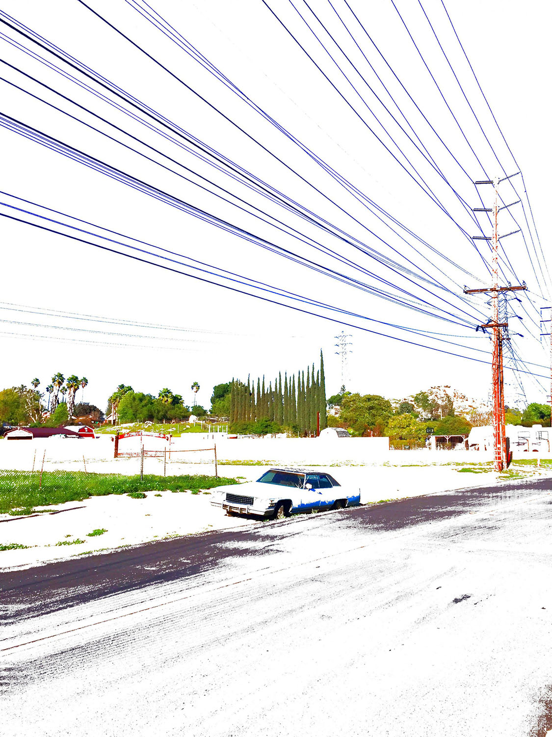 "Andrew K. Thompson / ""Grand Terrace Car"" / Inkjet Print On Canvas Accentuated With Thread / 20x14 /"