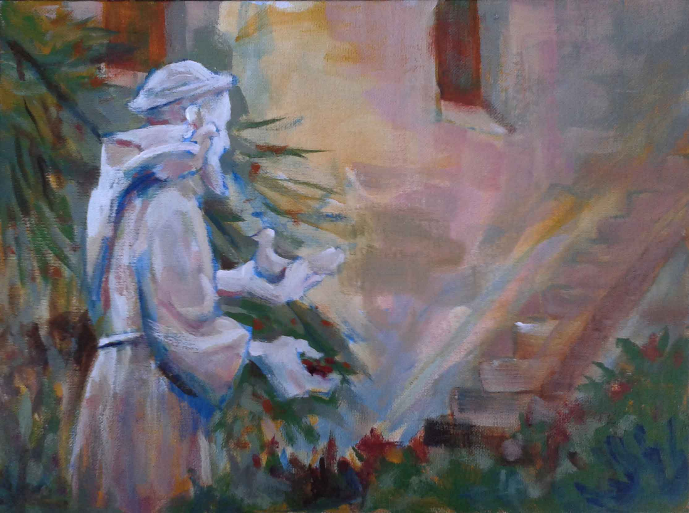 "Gary Rainsbarger / ""St. Francis at Mission San Diego"" / Acrylic / 20x16 / $300"