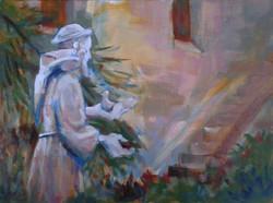 "Gary Rainsbarger / ""St. Francis at Mission San Diego"" / Acrylic / 20x16 / $300"