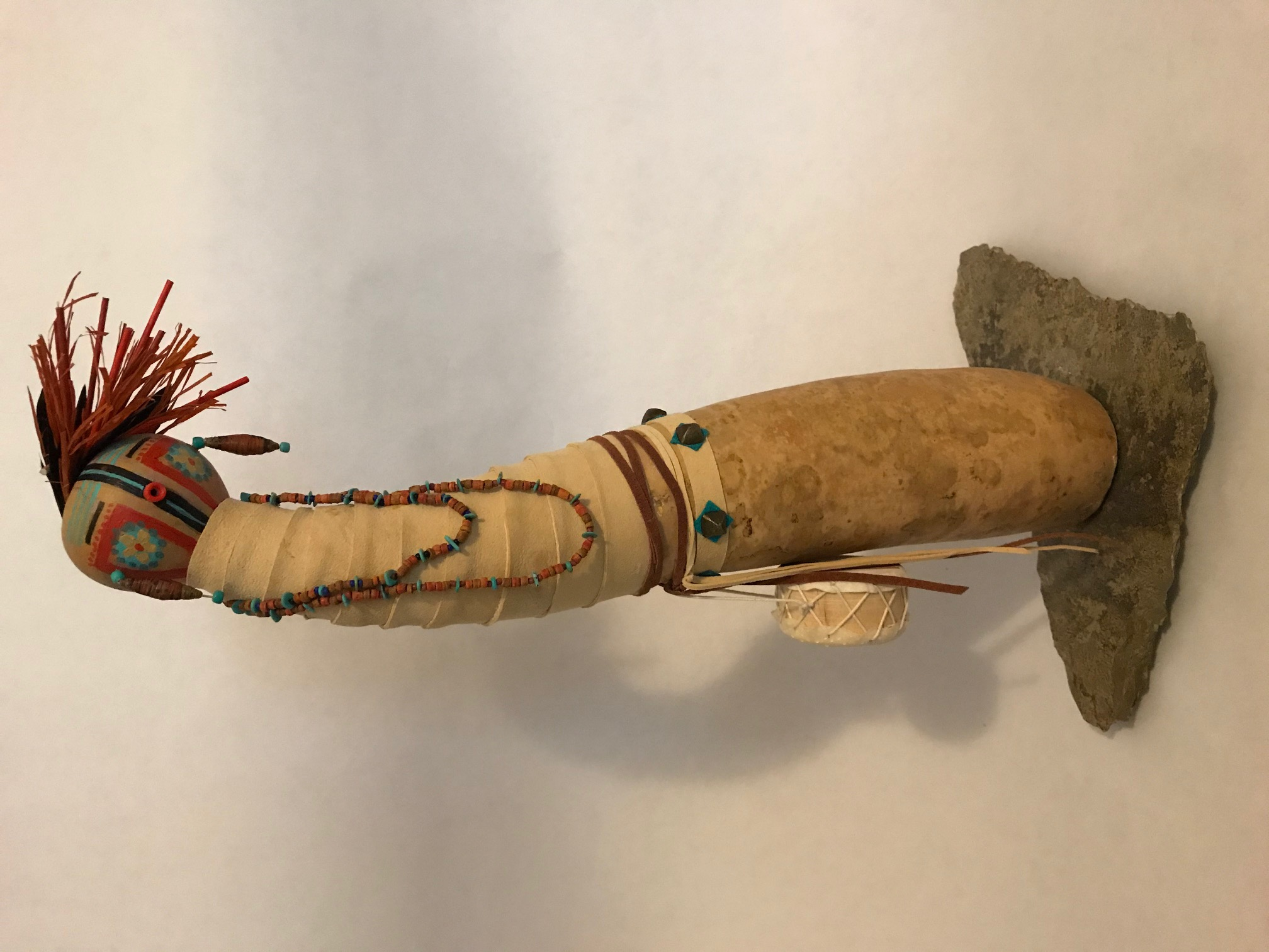 "Sue Burger / ""Little Drum Kachina"" / Gourd  / 16x10x6 / $200"