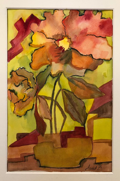 "Anahid Baghdasarian / ""Magnolia-Abstract"" / Water Color / 11x17 / NFS"