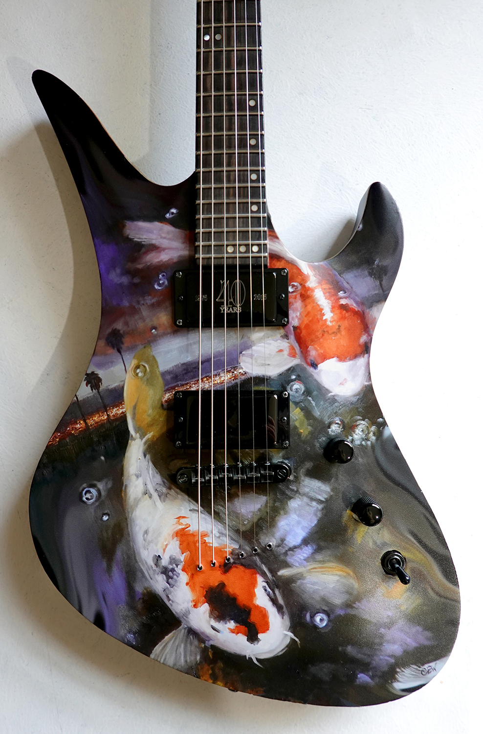 "Christine E. White / ""Koi City Guitar Wrap"" / Print Of Original Painting, On Vinyl / 20x14 / NFS"