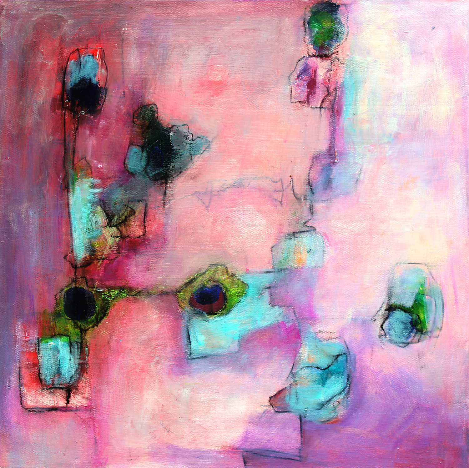 "Adeola Davies-Aiyeloja / ""Enchanted Colors #2"" / Mixed Media / 20x20 / $995"