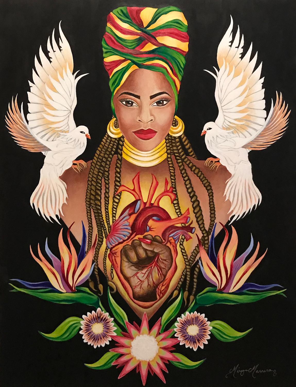 "Mireya Marrero / ""Mulata of Peace & Justice"" / Acrylic / 22x28.5 / NFS"