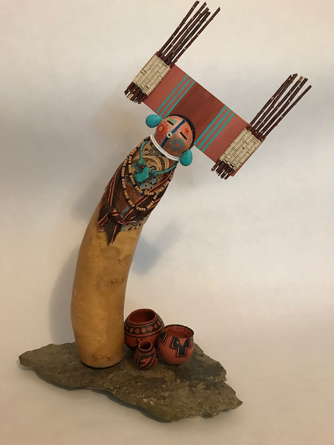 "Sue Burger / ""Pottery Kachina"" / Gourds / 16x14x7 / $200"