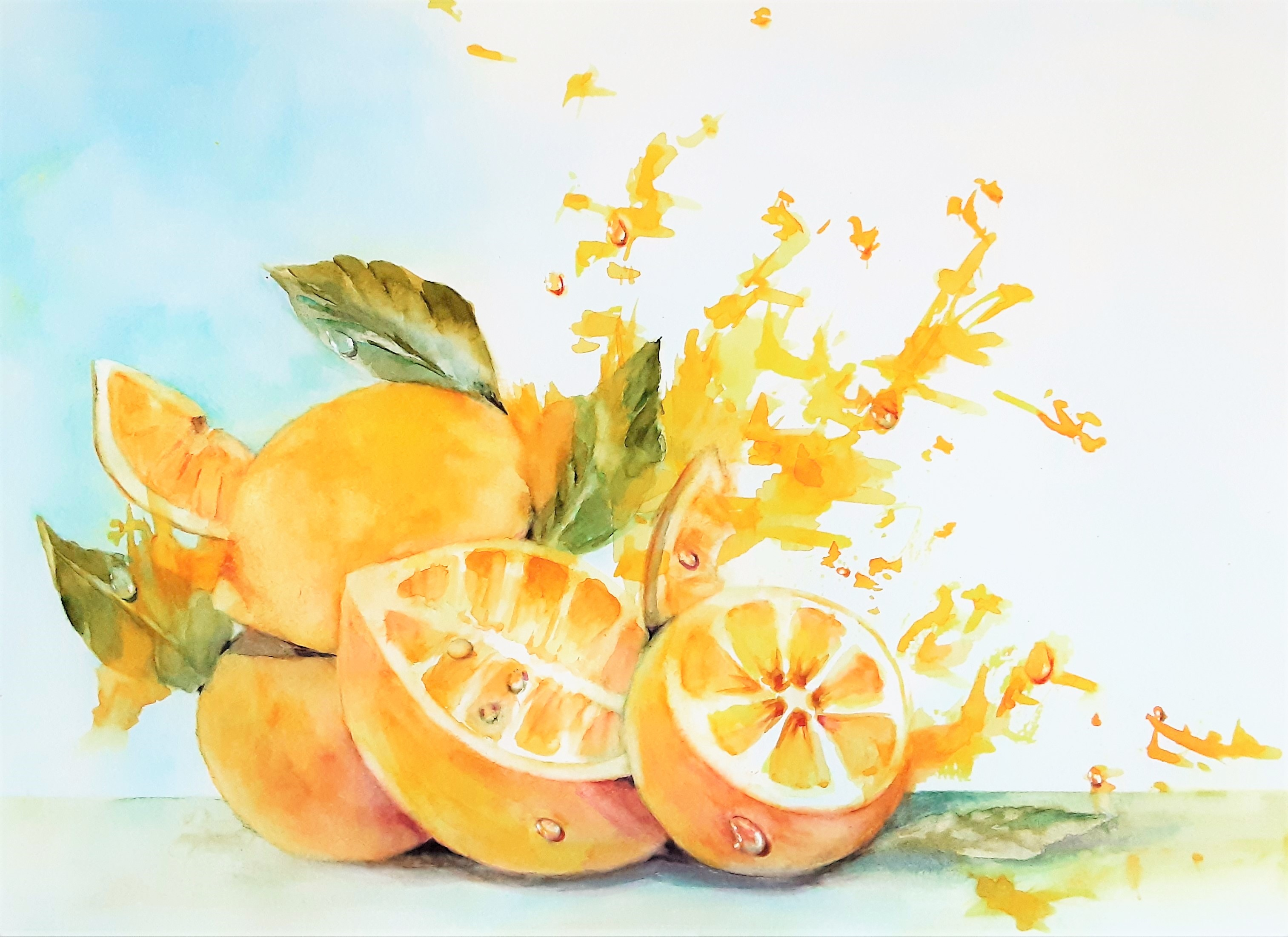 "Zita Villanueva / ""Bursting Lemons"" / Watercolors / 16x20 / $975"