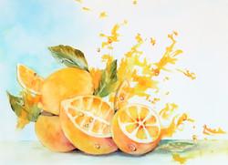 """Zita Villanueva / """"Bursting Lemons"""" / Watercolors / 16x20 / $975"""