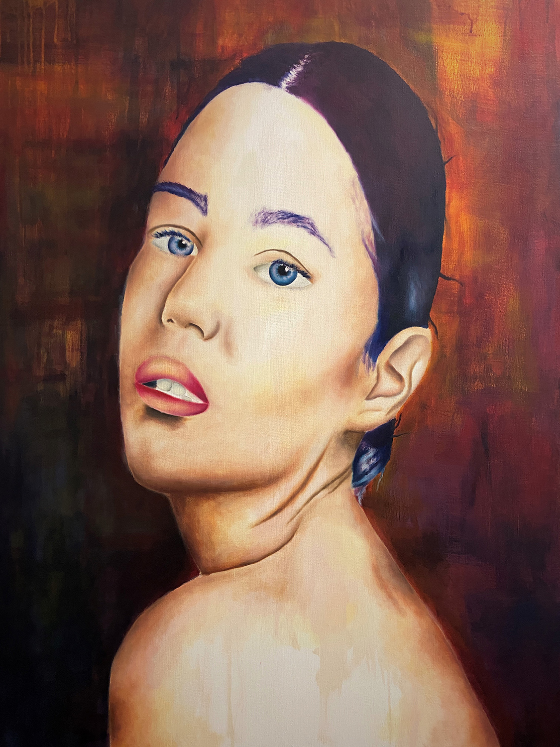 "Jose Lozano Jr / ""Tell Me I'm Pretty"" / Oil On Canvas / 30x40 / $700"