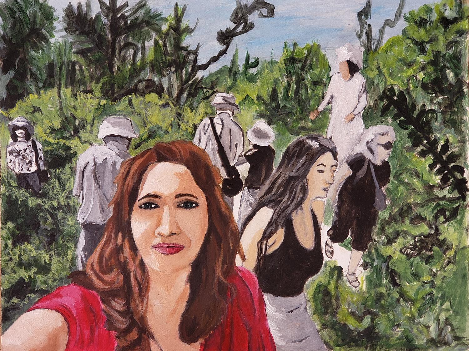 "Nada Fakhreddine / ""Selfie in the garden"" / Acrylic And Oil / 8.5x11 / NFS"