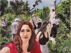 "Nada Fakhreddine / ""Selfie in the garden"" / Acrylic And Oil / 8.5x11 / NFS"