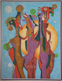 "Alfonso Martinez-Mendez / ""Pregnant Queen"" / Acrylic / 3x4 Feet / $800"