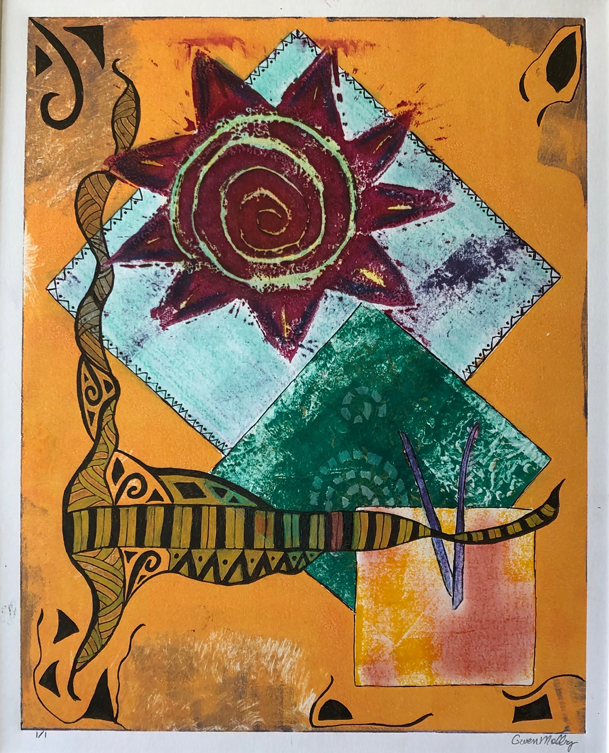 "Gwen Melby / ""Solar Spiral #3"" / Mixed Media"