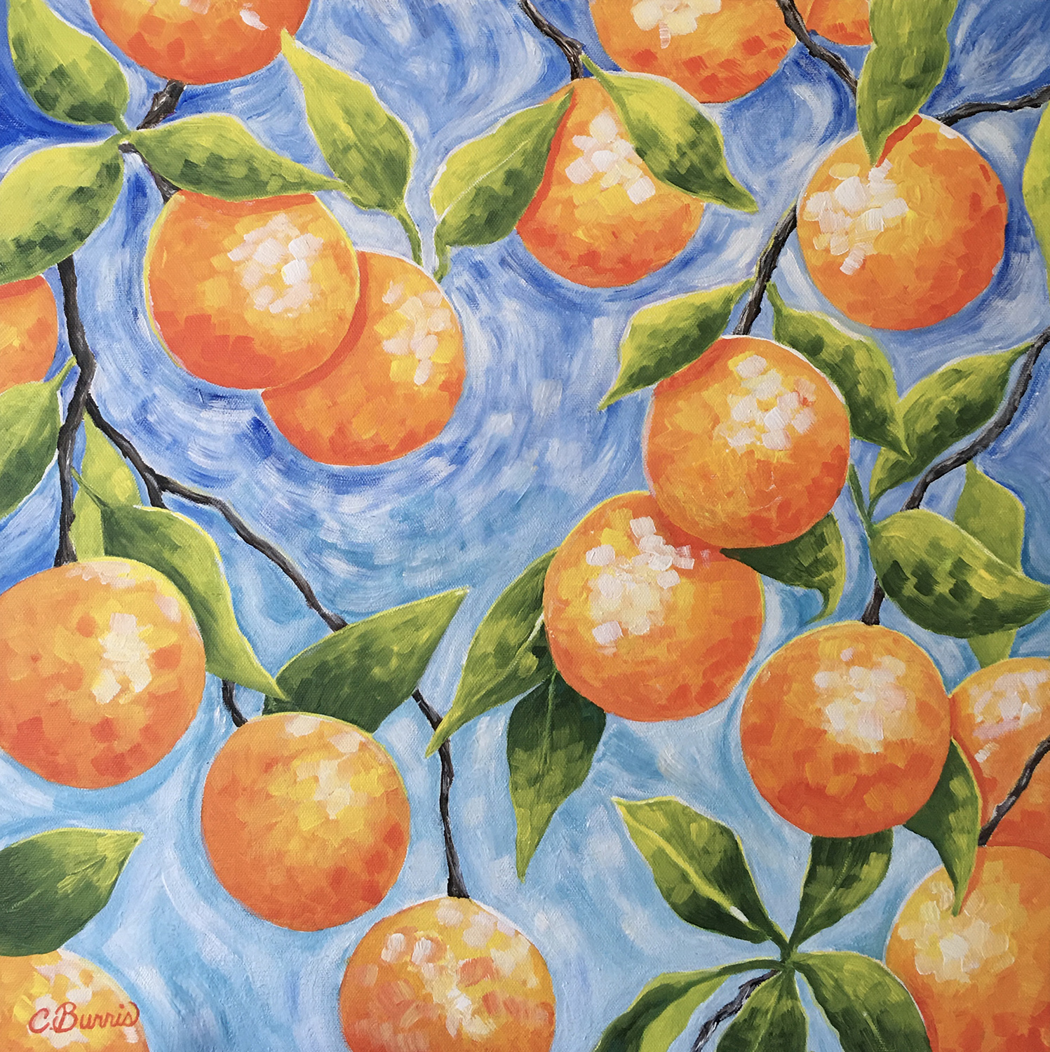 "Cherie Burris / ""Oh, Look at Those Oranges"" / Acrylic / 20x20 / $500"