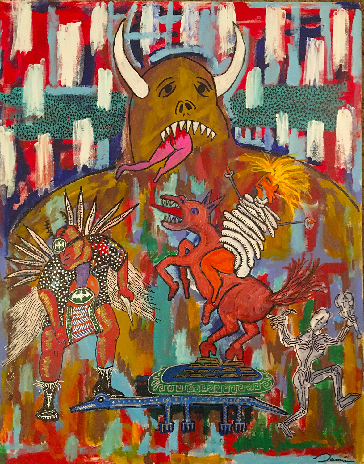 "Damian D. Costilla / ""Ahuiateteo Fiesta de Cena"" / Acrylic Paint On Canvas / 20x30 / $3500"